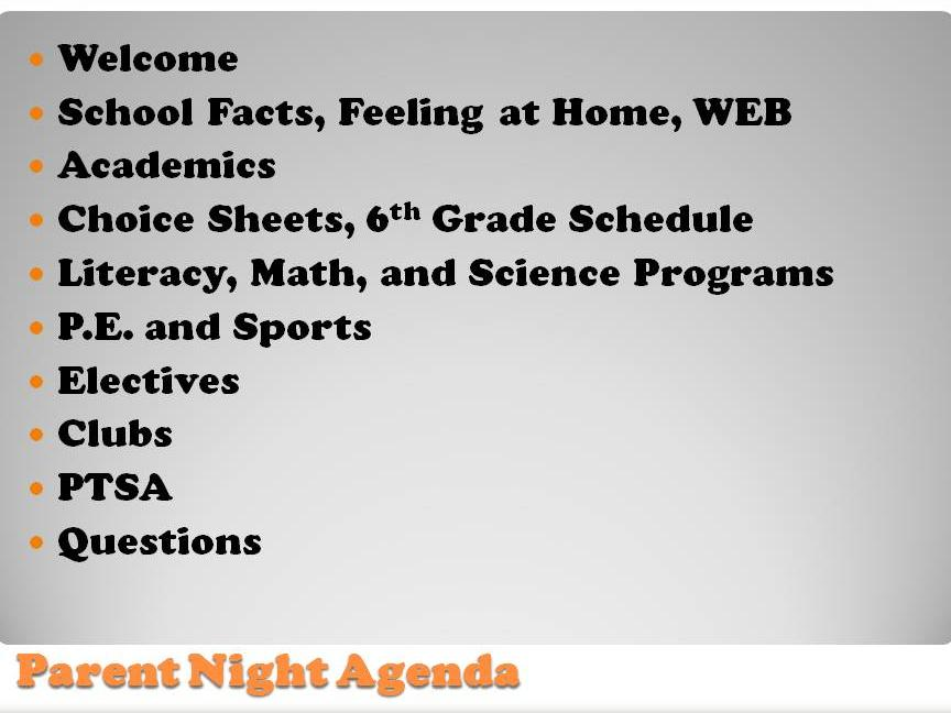 5th Grade Parent Information Night