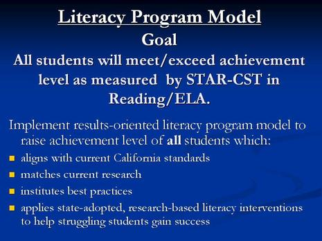 Dwyer Literacy Program - Goals